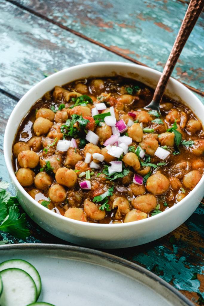 Chana Masala in a white bowl