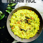 Grey bowl with rasam rice in it and text on top of the image