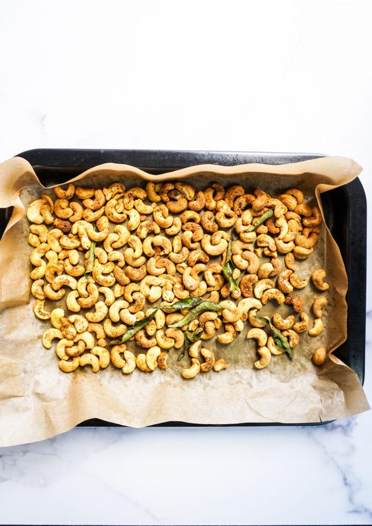 Roasted cashews on the sheet pan