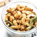 Roasted cashews in a glass jar