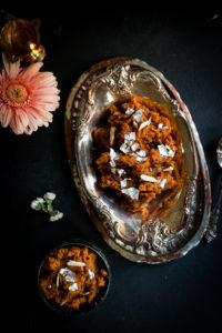 Pumpkin halwa in a silver serving bowl