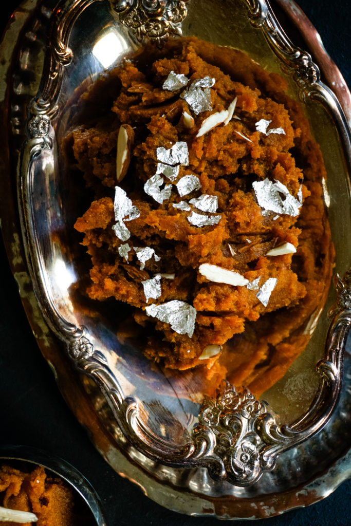 close up shot of Pumpkin halwa in a silver serving bowl
