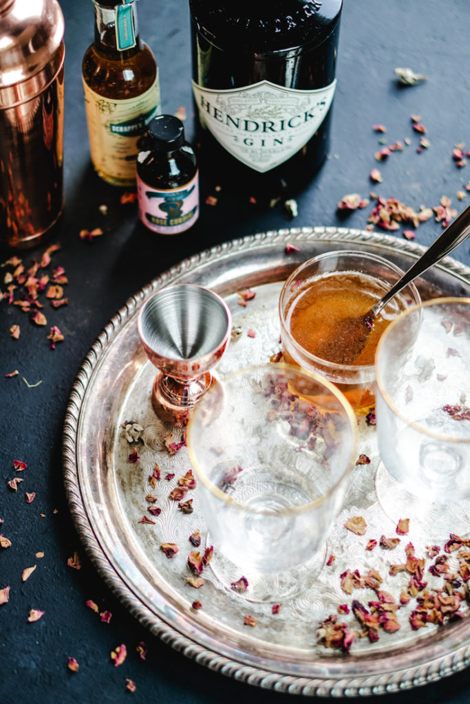 ingredients for rose cardamom cocktail kept ready