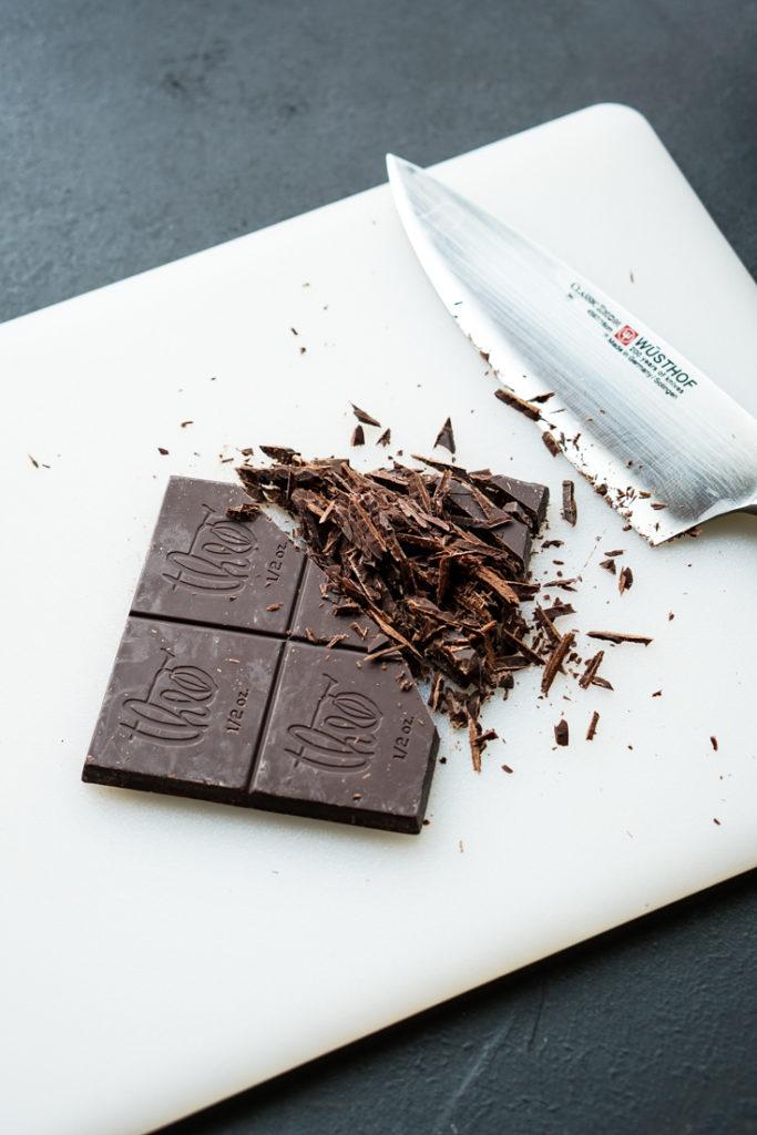 half chopped bar of chocolate