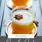 glass cup with hot toddy and text on image