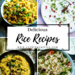 4 frames of rice dishes with text on image