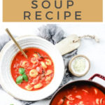 tomato basil tortellini soup in a bowl and Dutch oven with text on image