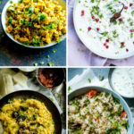 4 frames of rice dishes in a collage