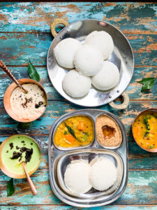 A spread of South Indian style breakfast