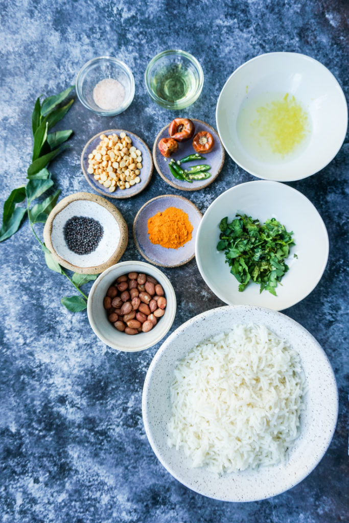 Ingredients for lemon rice set out in bowls
