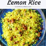 lemon rice in a platter with text on image