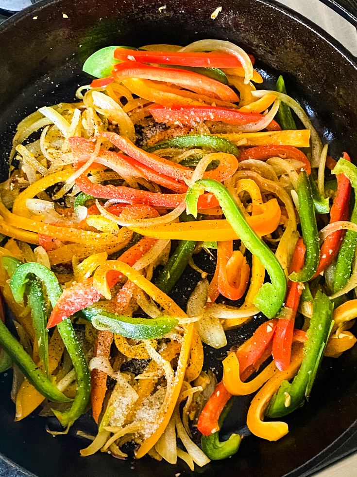 peppers added to skillet