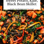 sweet potato kale skillet with text on image