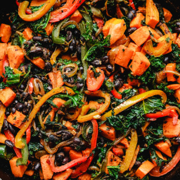 sweet potato kale and peppers in a skillet