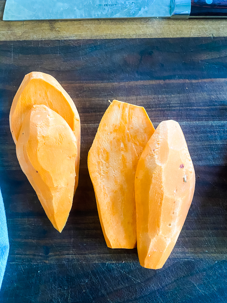 slices of sweet potato on a chopping board